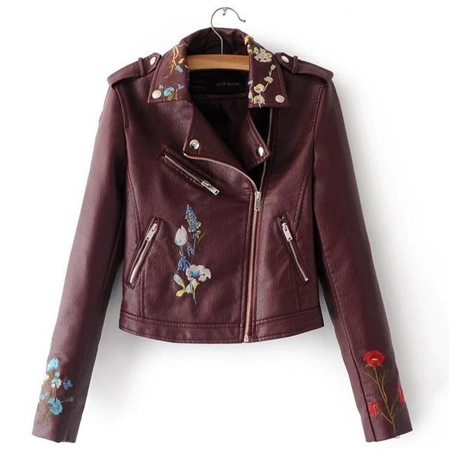 Women Embroidery Faux  Leather Jacket - TuneUpTrends.com