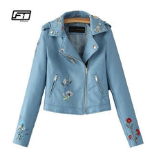 Load image into Gallery viewer, Embroidered Bomber Faux Leather Jacket - TuneUpTrends.com