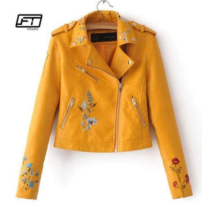 Embroidered Bomber Faux Leather Jacket - TuneUpTrends.com