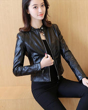 Load image into Gallery viewer, Slim Female Soft Leather Motorcycle Jacket - TuneUpTrends.com