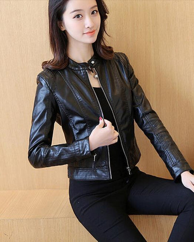 Slim Female Soft Leather Large black pink Leather Motorcycle Jacket - TuneUpTrends.com
