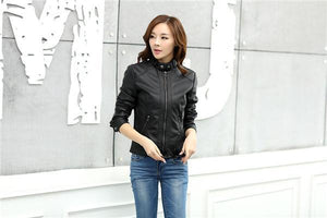 PU Leather Jacket Motorcycle Temale Women - TuneUpTrends.com