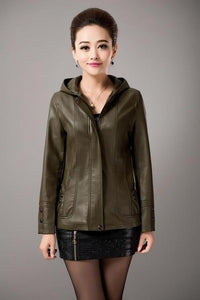 2018 New Spring Womens Hooded Leather Jackets - TuneUpTrends.com