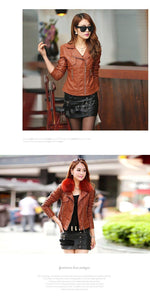 Women Pu Leather Jacket Elegant Punk Coat - TuneUpTrends.com