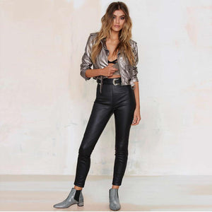 Punk Silver Short Faux Leather Jacket - TuneUpTrends.com