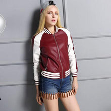 Load image into Gallery viewer, O-neck Faux Leather Jacket Women 2018 - TuneUpTrends.com