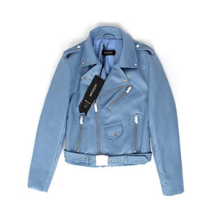 Short Washed PU Leather Jacket - TuneUpTrends.com