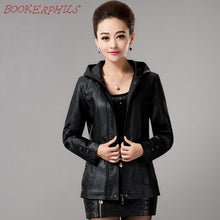 Load image into Gallery viewer, 2018 New Spring Womens Hooded Leather Jackets - TuneUpTrends.com