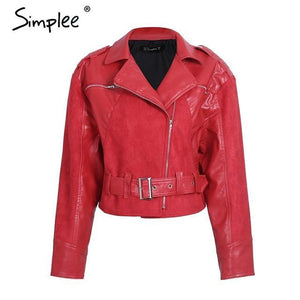 Red PU  Leather Jacket Coat - TuneUpTrends.com