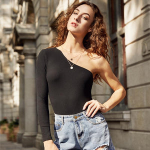 COLROVIE Basic Black One Shoulder Bodysuit - TuneUpTrends.com