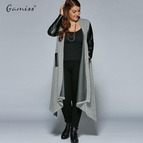 Gamiss Autumn Plus Size PU Leather Trim Longline Asymmetrical Coat - TuneUpTrends.com