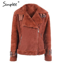 Load image into Gallery viewer, Simplee Faux leather suede lamb fur jacket coat - TuneUpTrends.com