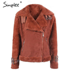 Simplee Faux leather suede lamb fur jacket coat - TuneUpTrends.com