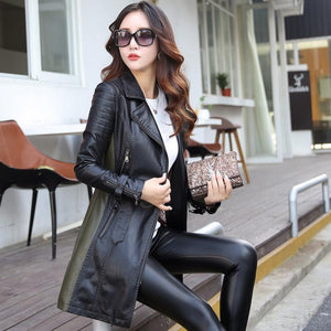 Long Sleeve Patchwork PU leather Jackets - TuneUpTrends.com