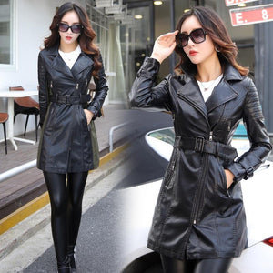 1da09ad56098a ... New Arrivals long Sleeve patchwork pu leather basic jackets -  TuneUpTrends.com