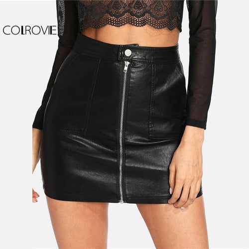 COLROVIE 2018 Plain Faux Mini Black Leather Skirt - TuneUpTrends.com
