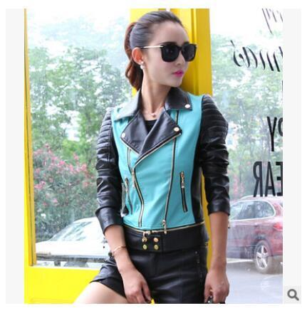 Patchwork color women leather jacket - TuneUpTrends.com