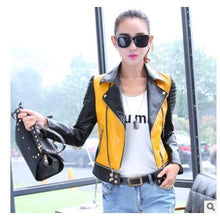 Load image into Gallery viewer, Patchwork color women leather jacket - TuneUpTrends.com