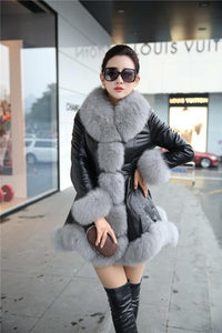 Women's Leather Jacket Faux Fox Fur Collar - TuneUpTrends.com