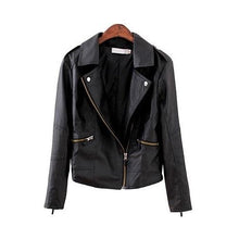 Load image into Gallery viewer, Turn Down Collar Women Leather Jackets - TuneUpTrends.com
