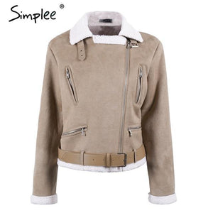 Faux suede jacket winter coat - TuneUpTrends.com