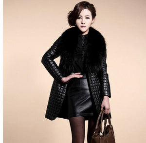 Long Section Fur Collar Leather Jackets - TuneUpTrends.com