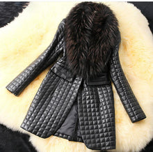Load image into Gallery viewer, Long Section Fur Collar Leather Jackets - TuneUpTrends.com