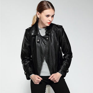2018 Spring Autumn PU Leather Faux Jacket - TuneUpTrends.com