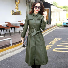 Load image into Gallery viewer, Women Long Leather Jacket 2018 New Fashion - TuneUpTrends.com
