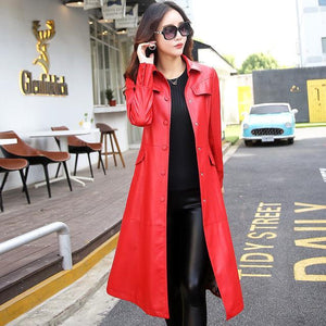 Women Long Leather Jacket 2018 New Fashion - TuneUpTrends.com