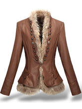 Load image into Gallery viewer, Leather Coat With Button Faux Fur leather jacket - TuneUpTrends.com