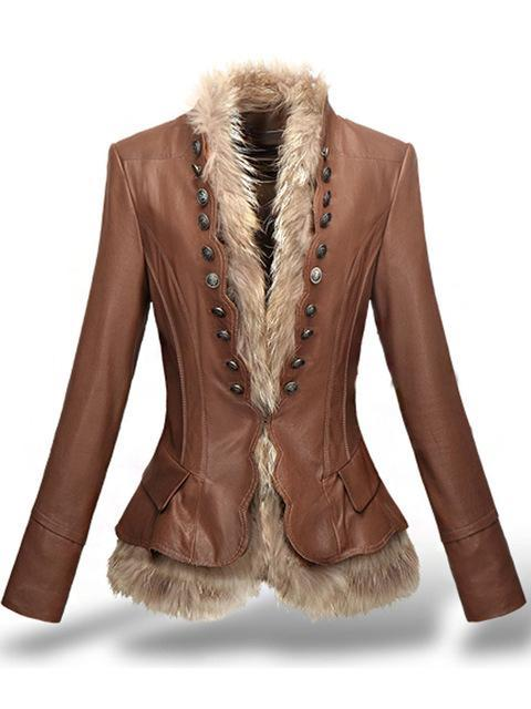 Leather Coat With Button Faux Fur leather jacket - TuneUpTrends.com