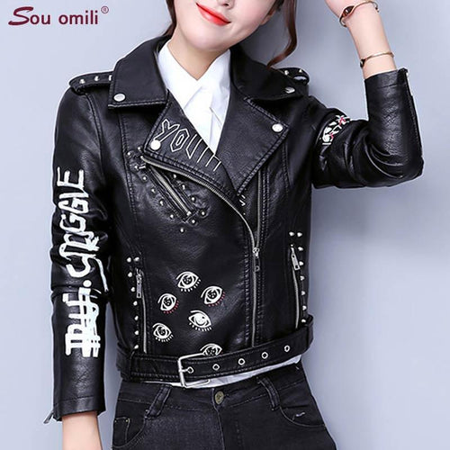Printed Letters Rivet Faux Leather Jacket - TuneUpTrends.com