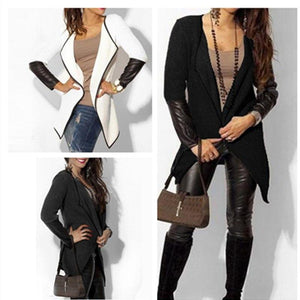 2018 Fashion Women Faux Leather Patchwork Long Sleeve Jacket - TuneUpTrends.com