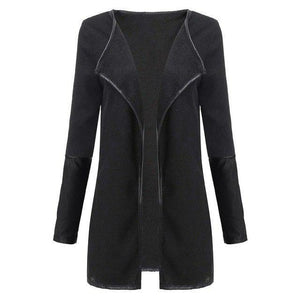 Faux Leather Patchwork Long Sleeve Jacket - TuneUpTrends.com