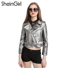 Load image into Gallery viewer, PU Biker Faux Leather Jacket Silver Grey - TuneUpTrends.com