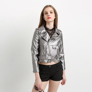 PU Biker Faux Leather Jacket Silver Grey - TuneUpTrends.com