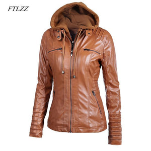 Ftlzz 2018 Women Faux Leather Jacket - TuneUpTrends.com