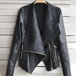 Faux Leather Zipper Jacket Casual Outwear - TuneUpTrends.com