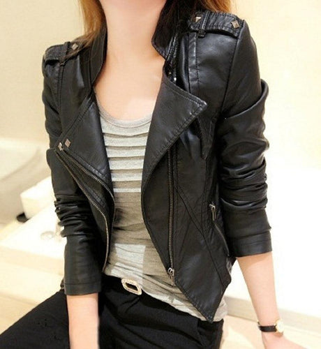Uwback Faux Black  Leather Jacket - TuneUpTrends.com