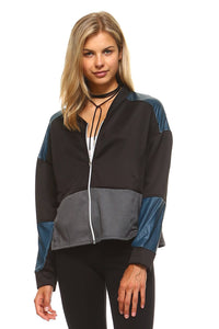 Women's Leather Patch Bomber Jacket - TuneUpTrends.com
