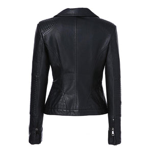 AORRYVLA Women Fashion Black Faux Leather Jacket - TuneUpTrends.com