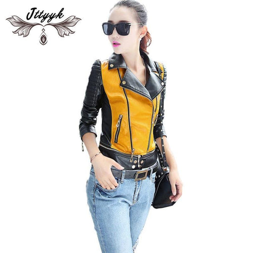 PU women leather motorcycle jacket patchwork color - TuneUpTrends.com