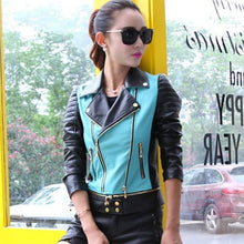 Load image into Gallery viewer, PU Leather Motorcycle jacket patchwork color - TuneUpTrends.com