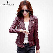 Load image into Gallery viewer, Pinky Is Black Fashion 2018 Women Leather Coat - TuneUpTrends.com