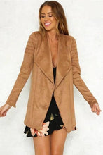 Load image into Gallery viewer, Pink Outwear Medium Long Suede Coat Faux Leather Jackets - TuneUpTrends.com