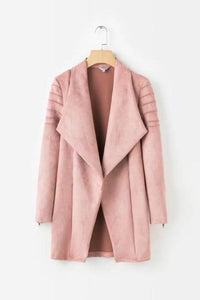Pink Outwear Medium Long Suede Coat Faux Leather Jackets - TuneUpTrends.com