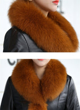 Load image into Gallery viewer, Women's Leather Jacket Faux Fox Fur Collar - TuneUpTrends.com