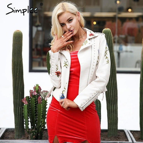 Simplee Embroidery Floral Faux White Leather Jacket - TuneUpTrends.com