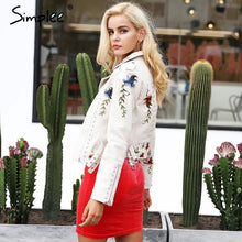 Load image into Gallery viewer, Simplee Embroidery Floral Faux White Leather Jacket - TuneUpTrends.com